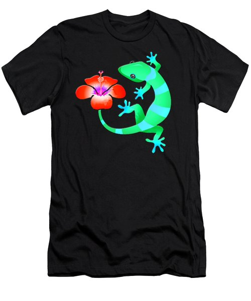 Blue And Green Jungle Lizard With Orange Hibiscus /background Men's T-Shirt (Athletic Fit)