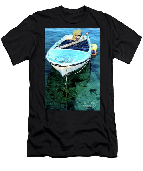 Blue And White Fishing Boat On The Adriatic - Rovinj, Croatia Men's T-Shirt (Athletic Fit)