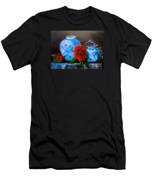 Men's T-Shirt (Slim Fit) featuring the painting Blue And White Pottery And Red Roses by Jenny Lee