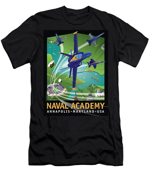 Blue Angels Over Usna Men's T-Shirt (Athletic Fit)