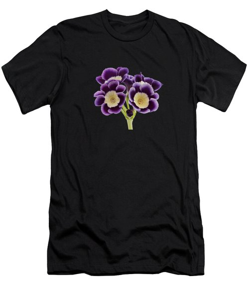 Men's T-Shirt (Athletic Fit) featuring the photograph Blue Auricula On A Transparent Background by Paul Gulliver