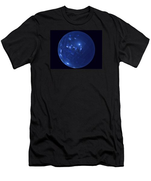 Blue Big Sphere With Squares Men's T-Shirt (Slim Fit) by Ernst Dittmar