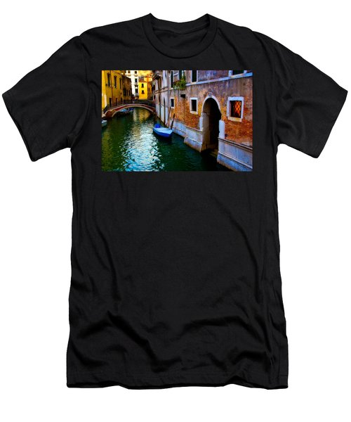 Blue Boat At Twilight Men's T-Shirt (Slim Fit) by Harry Spitz