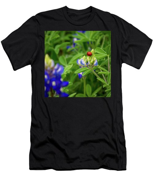 Texas Blue Bonnet And Ladybug Men's T-Shirt (Athletic Fit)