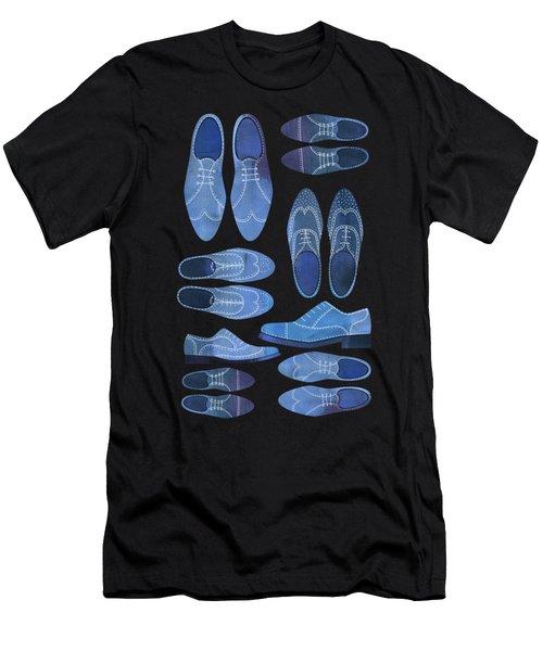 Blue Brogue Shoes Men's T-Shirt (Athletic Fit)
