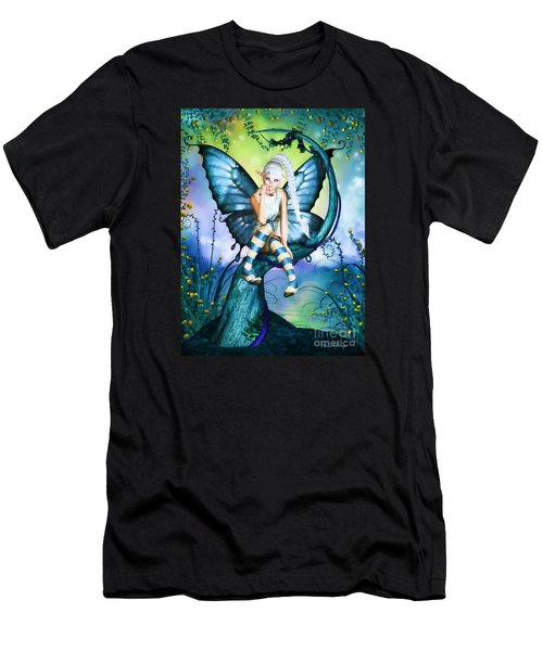 Blue Butterfly Fairy In A Tree Men's T-Shirt (Athletic Fit)