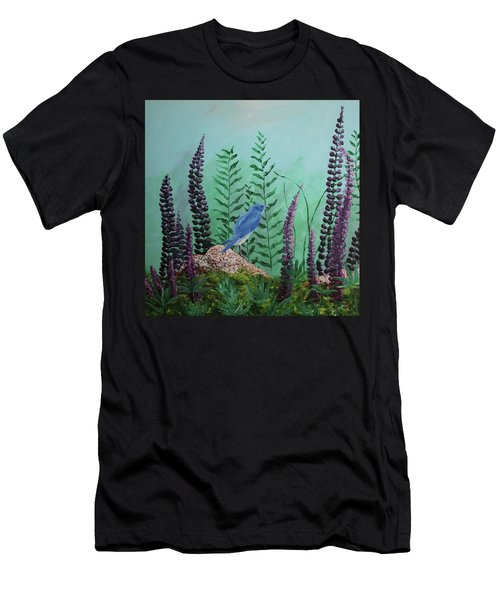 Blue Chickadee Standing On A Rock 1 Men's T-Shirt (Athletic Fit)