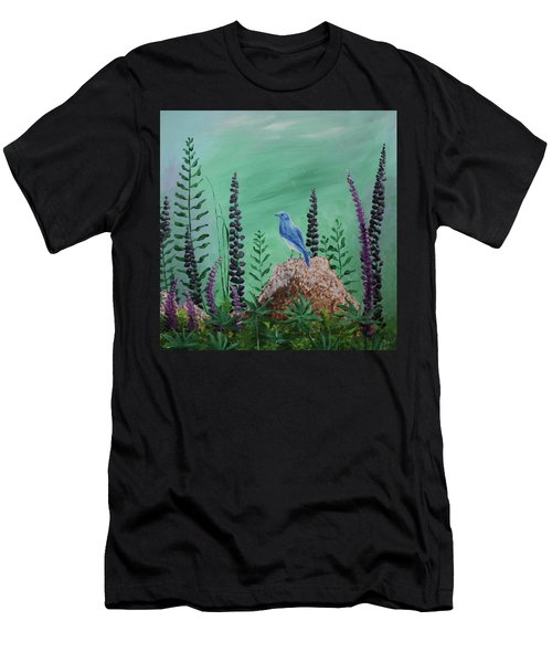 Blue Chickadee Standing On A Rock 2 Men's T-Shirt (Athletic Fit)