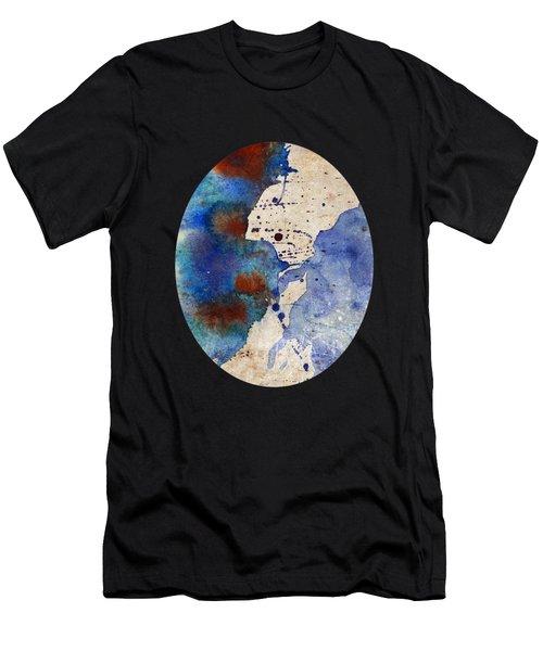 Blue Color Splash Men's T-Shirt (Athletic Fit)