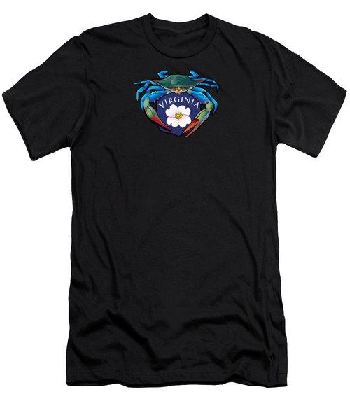Blue Crab Virginia Dogwood Crest Men's T-Shirt (Athletic Fit)