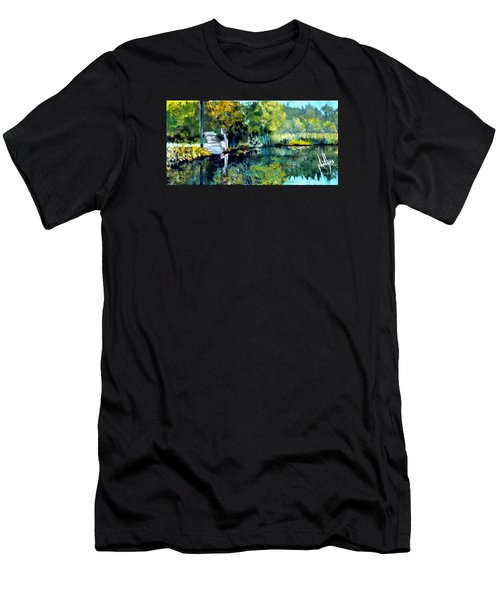Blue Creek Fish Camp Men's T-Shirt (Slim Fit) by Jim Phillips