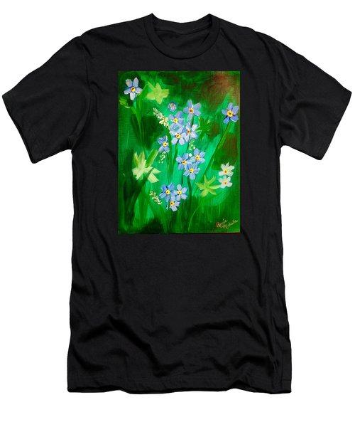 Blue Crocus Flowers Men's T-Shirt (Athletic Fit)
