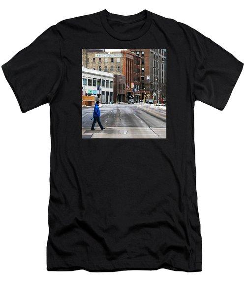 Blue Down Jacket Men's T-Shirt (Athletic Fit)
