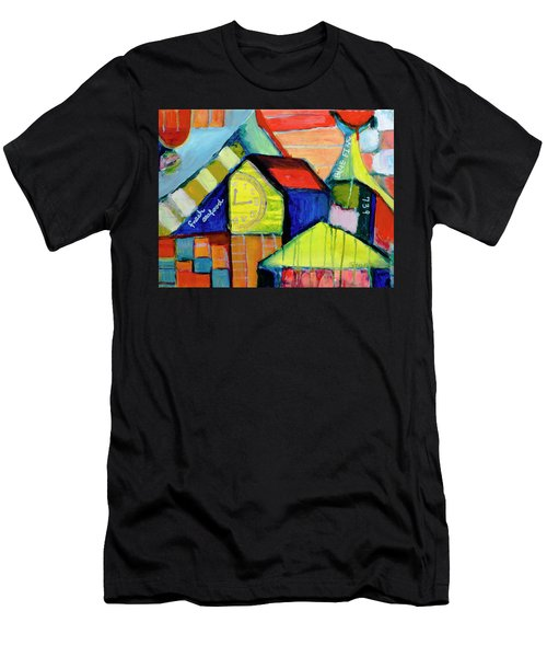 Men's T-Shirt (Slim Fit) featuring the painting Blue Fin's Fresh Seafood by Susan Stone