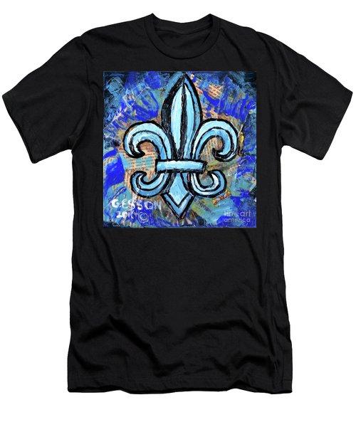 Blue Fleur De Lis Men's T-Shirt (Athletic Fit)
