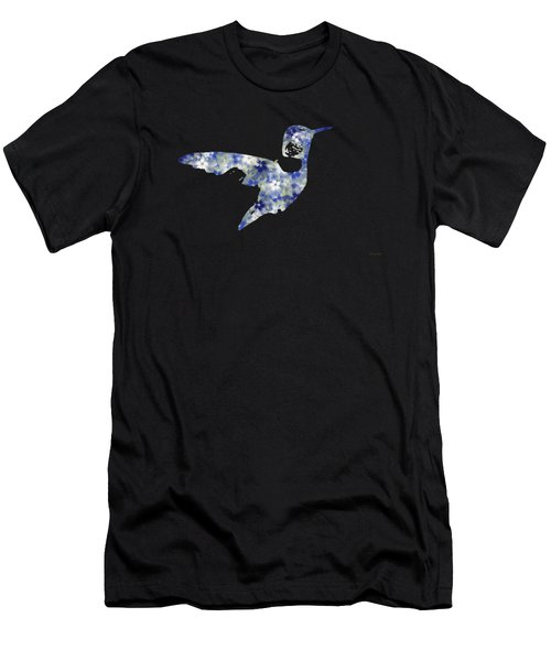 Blue Floral Hummingbird Art Men's T-Shirt (Athletic Fit)