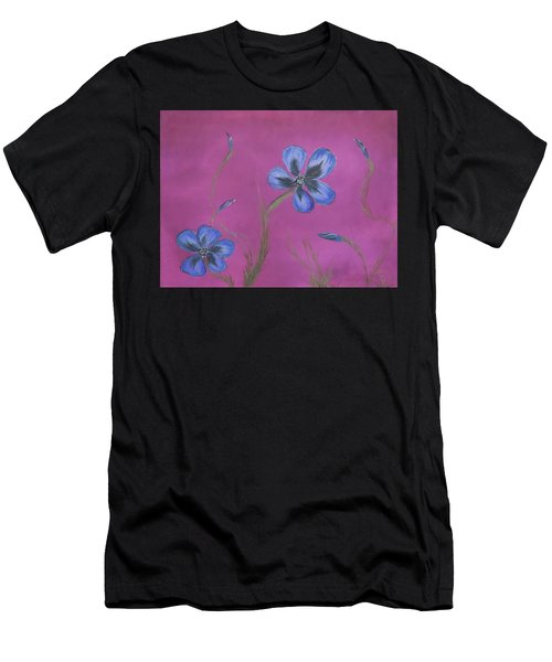 Blue Flower Magenta Background Men's T-Shirt (Athletic Fit)