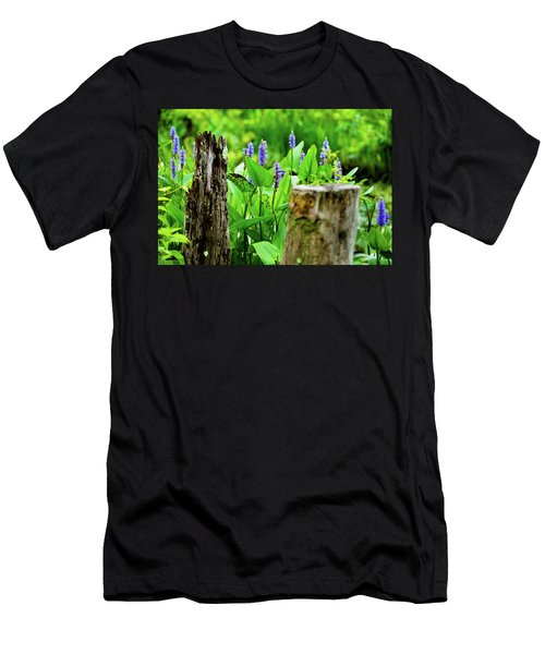 Blue Flowers And Artistic Logs Men's T-Shirt (Athletic Fit)