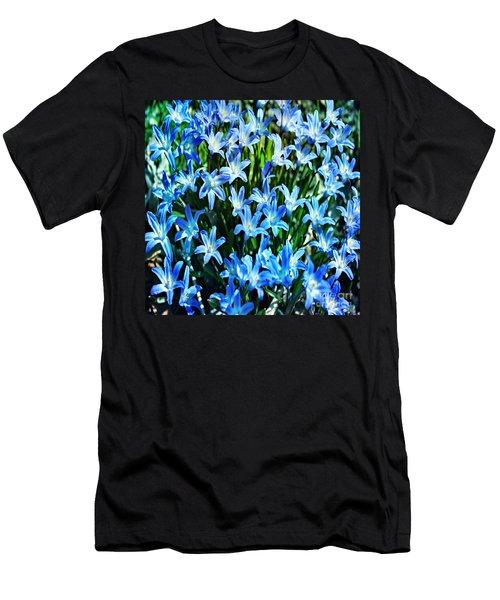 Blue Glory Snow Flowers  Men's T-Shirt (Athletic Fit)