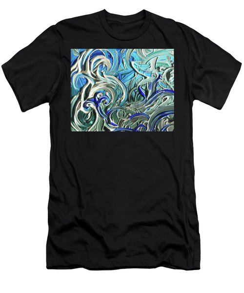Blue Gray Acrylic Brush Strokes Abstract For Interior Decor IIi Men's T-Shirt (Athletic Fit)