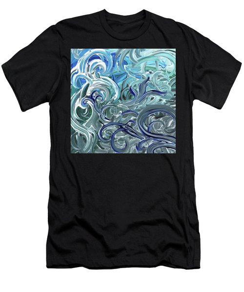 Blue Gray Brush Strokes Abstract Art For Interior Decor Iv Men's T-Shirt (Athletic Fit)