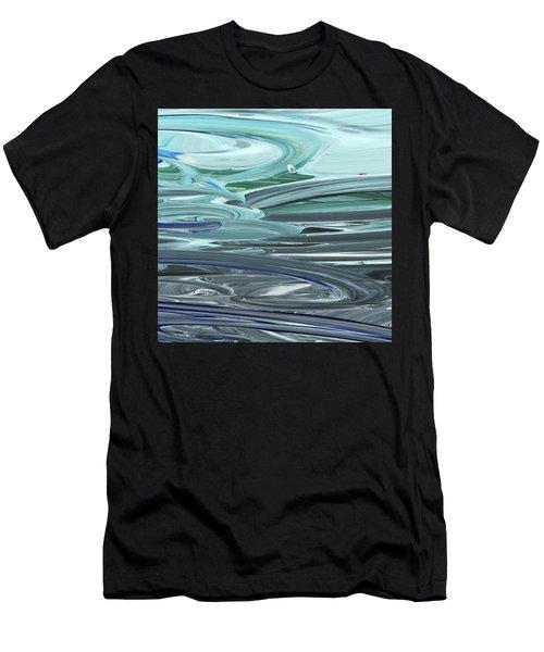 Blue Gray Brush Strokes Abstract Art For Interior Decor Vi Men's T-Shirt (Athletic Fit)