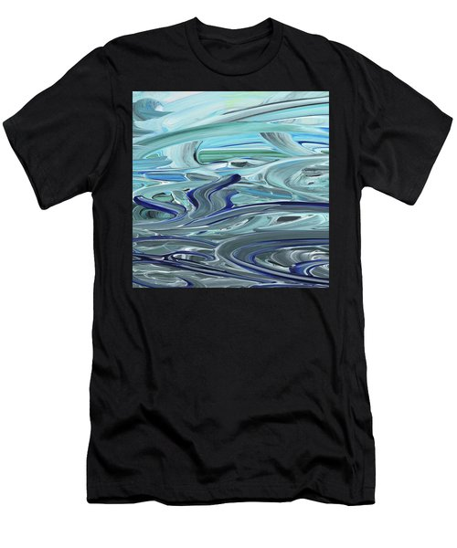 Blue Gray Brush Strokes Abstract Art For Interior Decor Vii Men's T-Shirt (Athletic Fit)