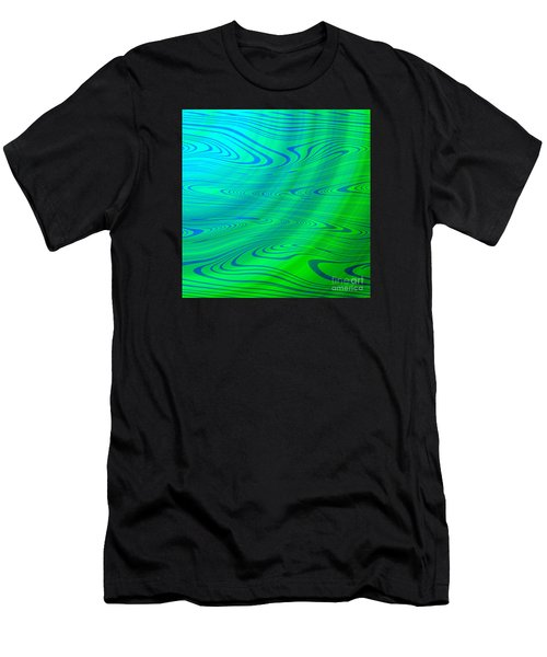 Blue Green Distort Abstract Men's T-Shirt (Athletic Fit)