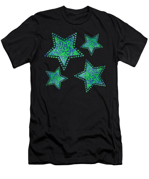 Blue Green Splatter Men's T-Shirt (Athletic Fit)