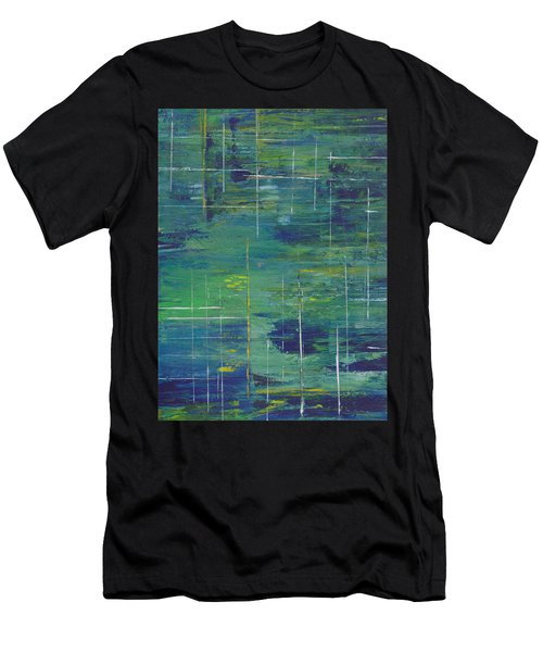Blue Green Yellow Abstract  Men's T-Shirt (Slim Fit) by Patricia Cleasby