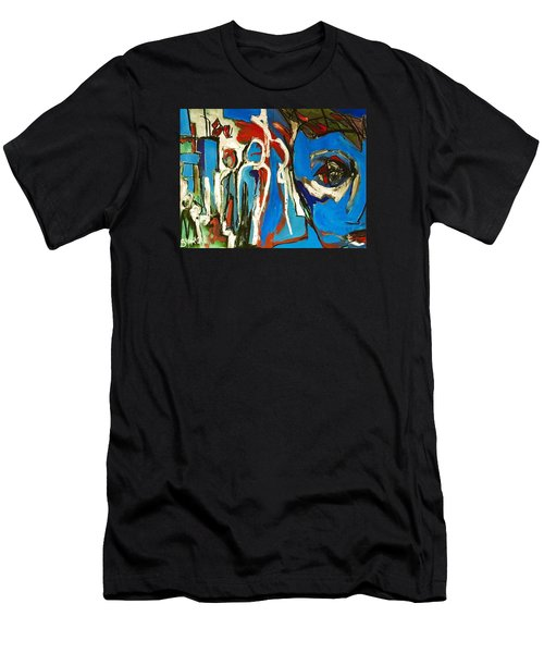 Men's T-Shirt (Slim Fit) featuring the painting Blue by Helen Syron