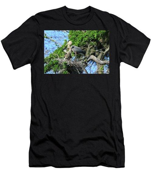 Men's T-Shirt (Slim Fit) featuring the photograph Blue Heron Series Baby 1 by Deborah Benoit