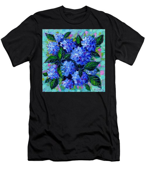 Blue Hydrangeas - Abstract Floral Composition Men's T-Shirt (Athletic Fit)