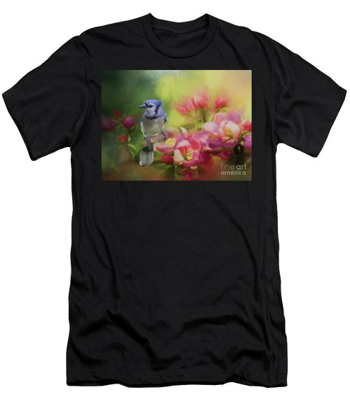 Blue Jay On A Blooming Tree Men's T-Shirt (Athletic Fit)