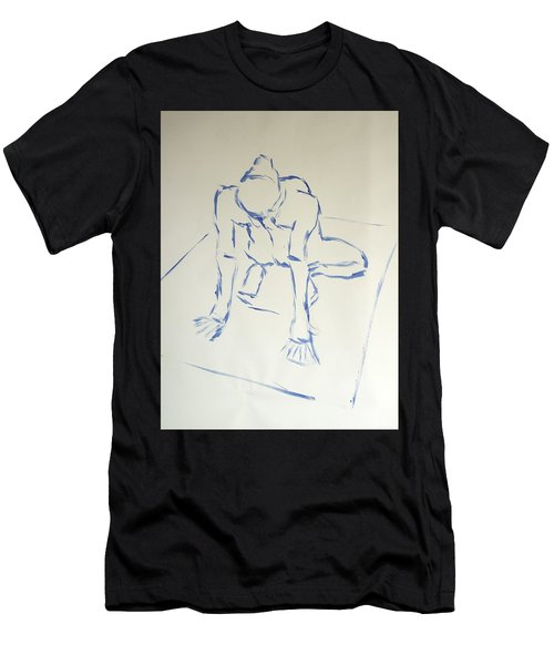 Blue Line Painting Of A Male Nude Kneeling On His Heels And Resting On Hands Which Are Behind Him Men's T-Shirt (Athletic Fit)