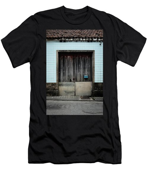 Men's T-Shirt (Slim Fit) featuring the photograph Blue Mailbox by Marco Oliveira