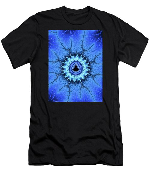 Men's T-Shirt (Athletic Fit) featuring the digital art Blue Mandelbrot Fractal Relaxing And Balanced by Matthias Hauser