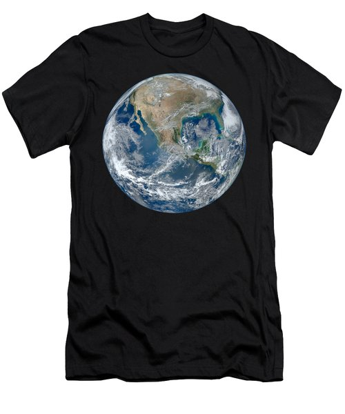 Blue Marble 2012 Planet Earth Men's T-Shirt (Slim Fit) by Nikki Marie Smith