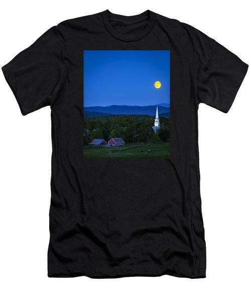 Blue Moon Rising Over Church Steeple Men's T-Shirt (Slim Fit) by John Vose