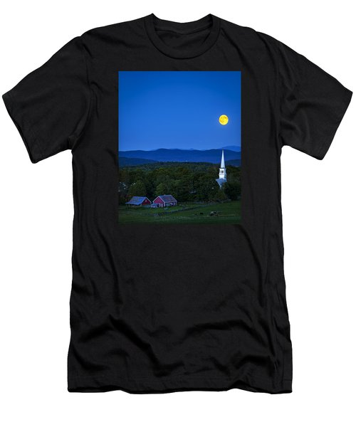 Blue Moon Rising Over Church Steeple Men's T-Shirt (Athletic Fit)