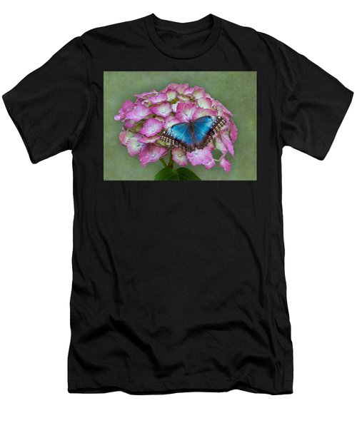 Blue Morpho Butterfly On Pink Hydrangea Men's T-Shirt (Athletic Fit)