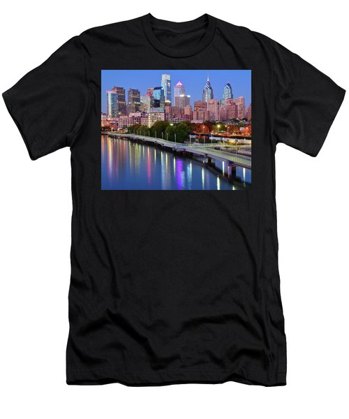 Men's T-Shirt (Slim Fit) featuring the photograph Blue Night Lights In Philly by Frozen in Time Fine Art Photography