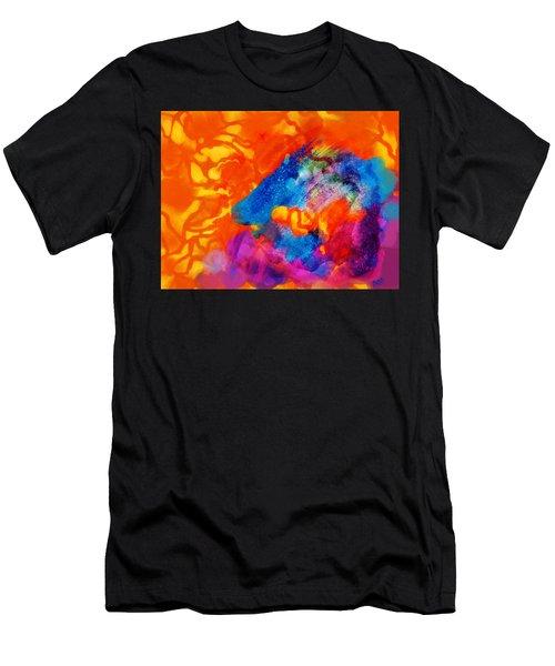 Blue On Orange Men's T-Shirt (Athletic Fit)