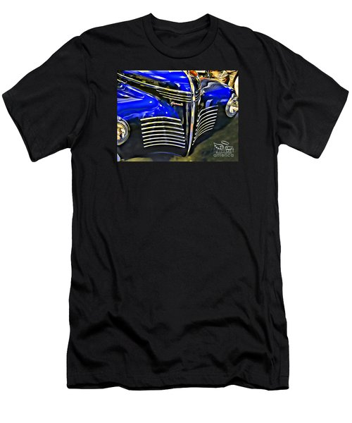 Men's T-Shirt (Athletic Fit) featuring the photograph Blue Plymouth Coupe by Beauty For God