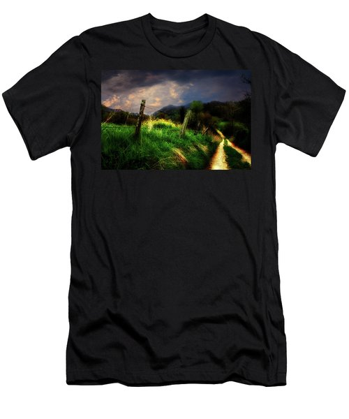 Men's T-Shirt (Slim Fit) featuring the photograph Blue Ridge Mountain Country Road by Gray  Artus