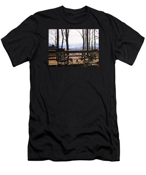 Blue Ridge Mountain Porch View Men's T-Shirt (Slim Fit) by Patricia L Davidson