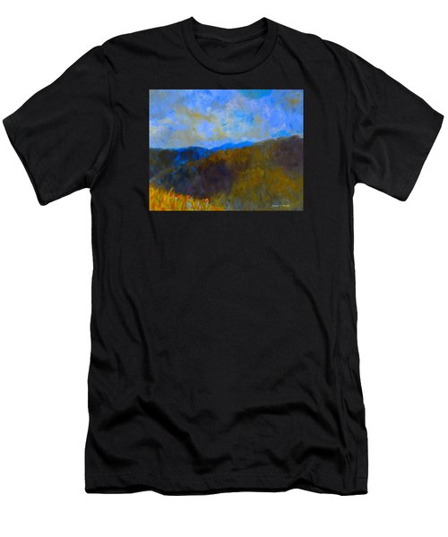 Men's T-Shirt (Athletic Fit) featuring the painting Blue Ridge Swirl by Kendall Kessler