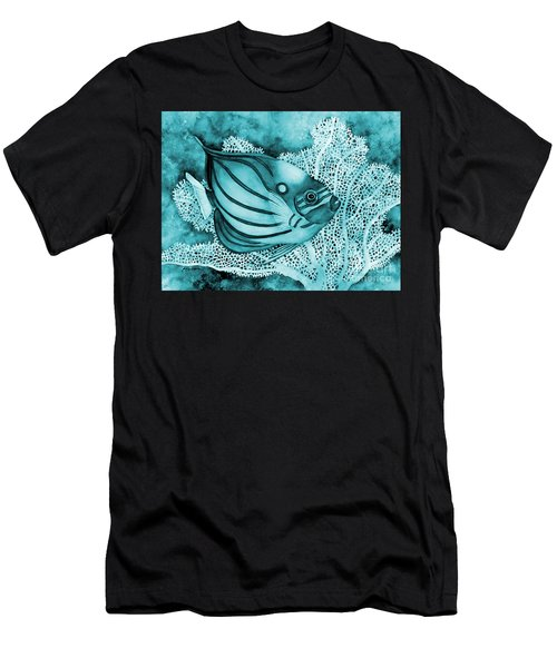 Blue Ring Angelfish On Blue Men's T-Shirt (Athletic Fit)