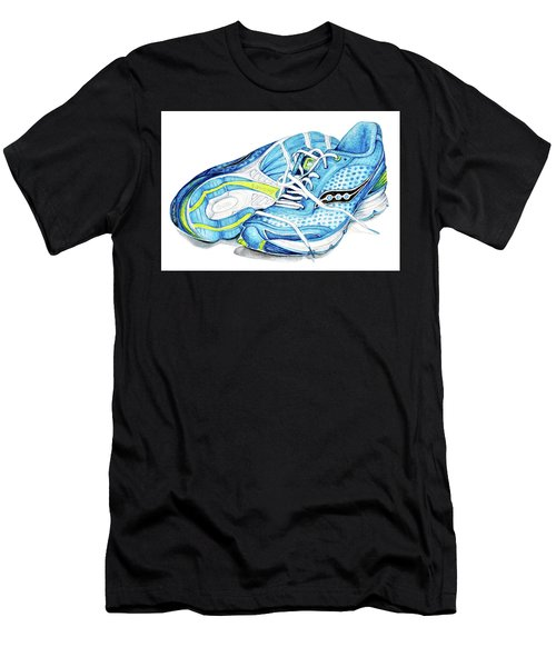 Blue Running Shoes Men's T-Shirt (Athletic Fit)
