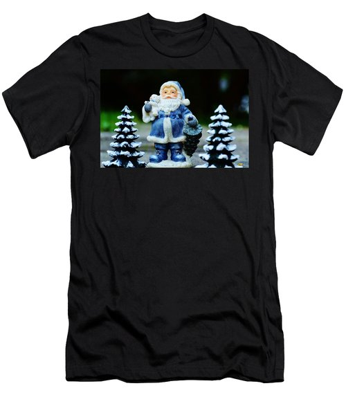 Blue Santa Christmas Card Men's T-Shirt (Slim Fit) by Bellesouth Studio